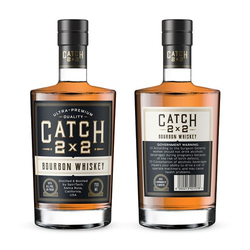 Label for Catch 2x2 Bourbon Whiskey