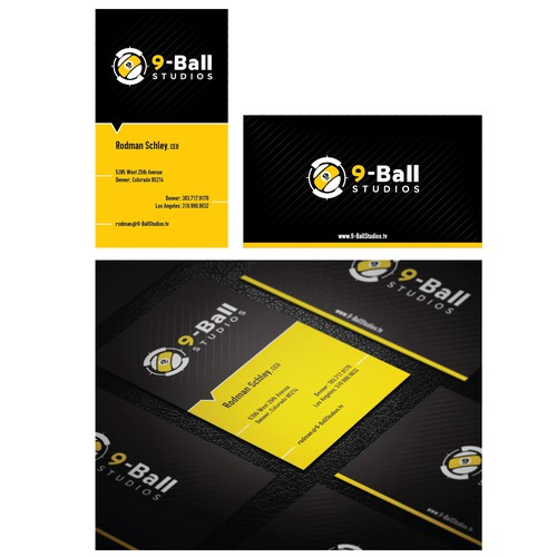 Design a new business card for 9-Ball Studios