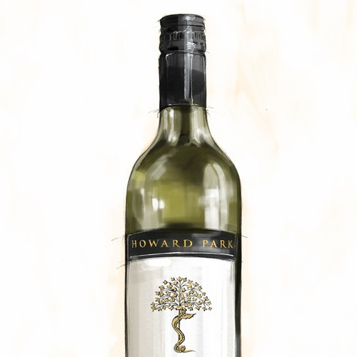 photorealistic illustration of a bottle for a wine company