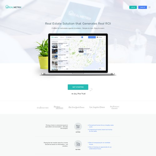 Homepage design for SaaS for real estate agents and brokers