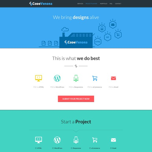 Landing page design for psd to html services website.
