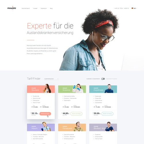 Main Page Concept for Health Insurance Company