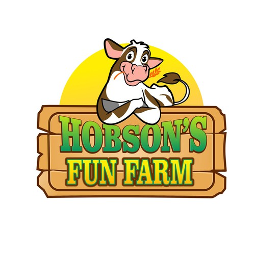 logo with cow character