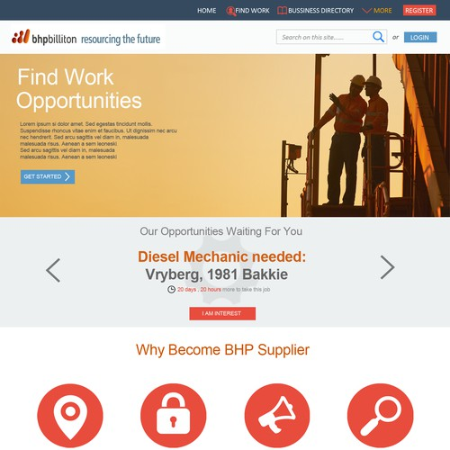 Landing Page for Supplier Portal