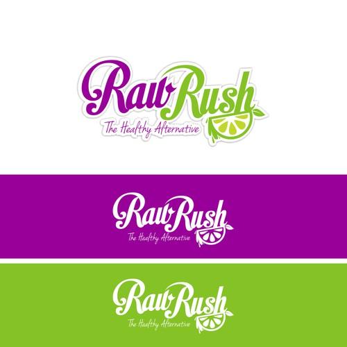 Create a fun + vibrant logo for 'RAW RUSH', a healthy smoothie & dessert bar.