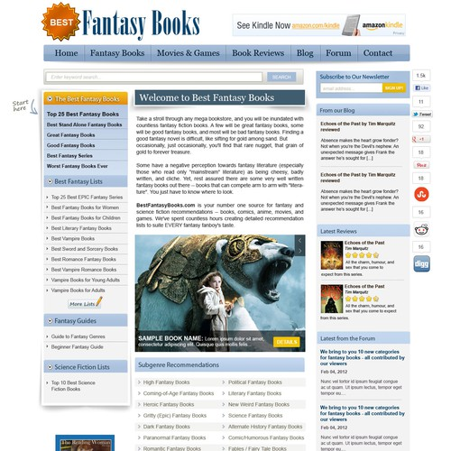 Website Concept for Best Fantasy Books
