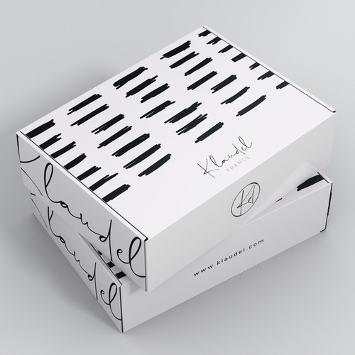 Creates a modern design for our French designer clothing packaging