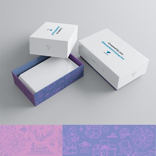 Unique & arty illustration for Vistaprint's Premium biz card boxes
