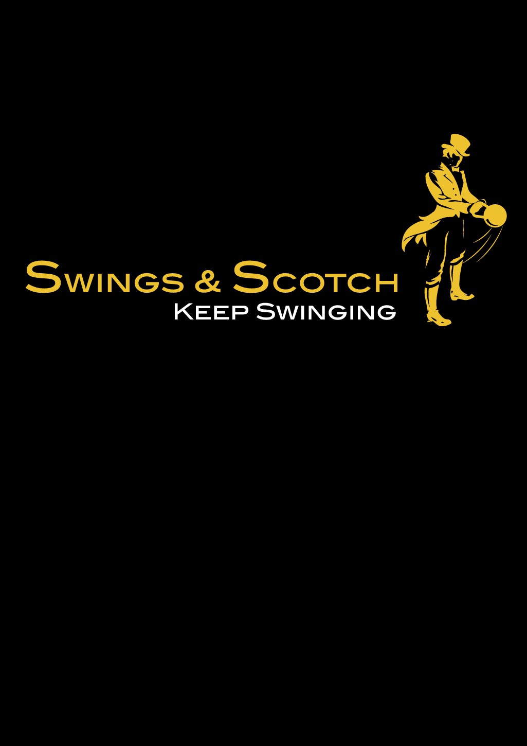 """Elegant design to attract Fitness & Alcohol enthusiasts; labeled """"Swings & Scotch"""""""