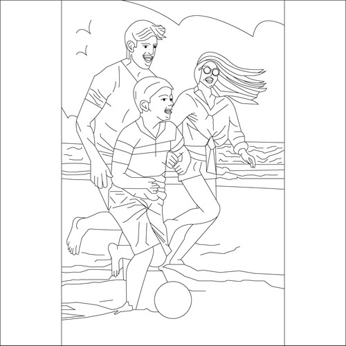 Beach activity pencil drawn illustration