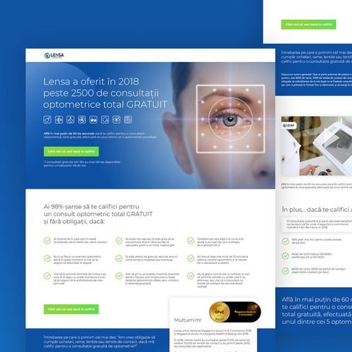 Landing Page Redesign a for a optometric consultation business