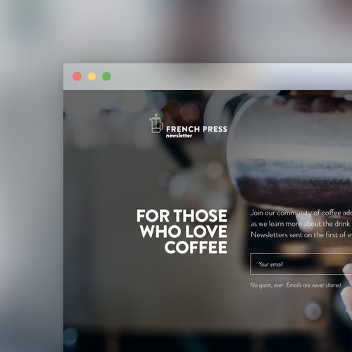 French press newsletter subscription page