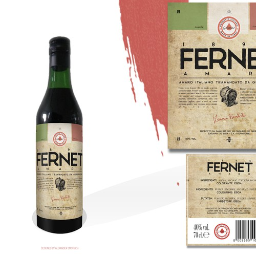 Product label for Fernet