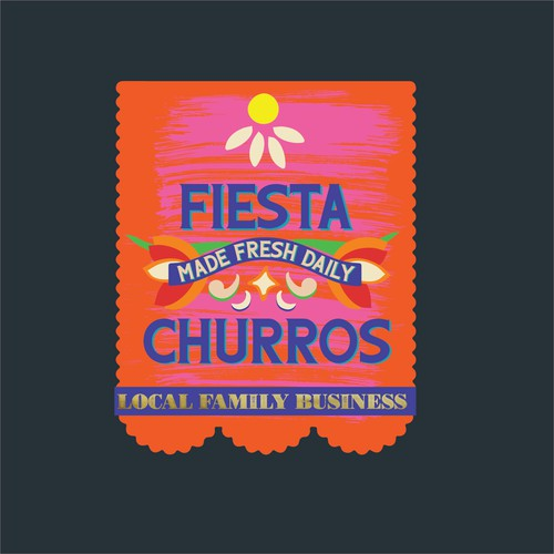 Fiesta Churros Orange Day of the Dead Flag Logo