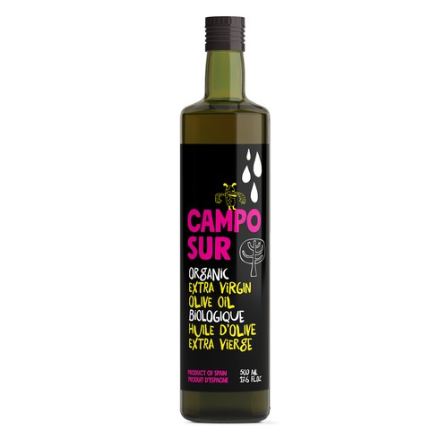 Create a modern new label for our organic olive oil
