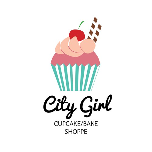 Create an updated modern and fun logo for upscale gourmet cupcake and specialty cake shop