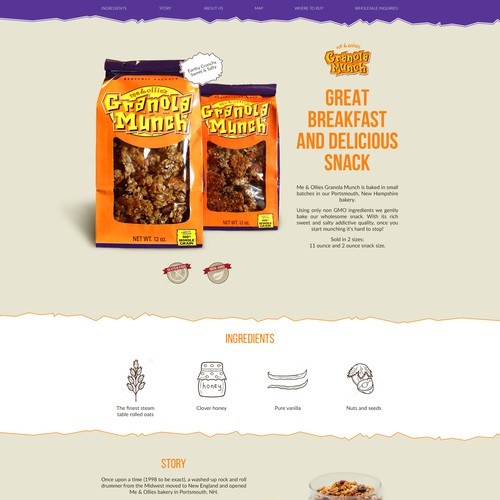 Landing page for Granola Munch Product