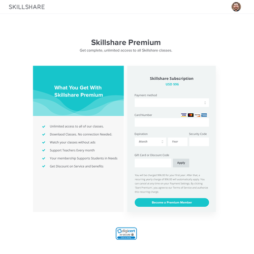 Checkout page for skillshare