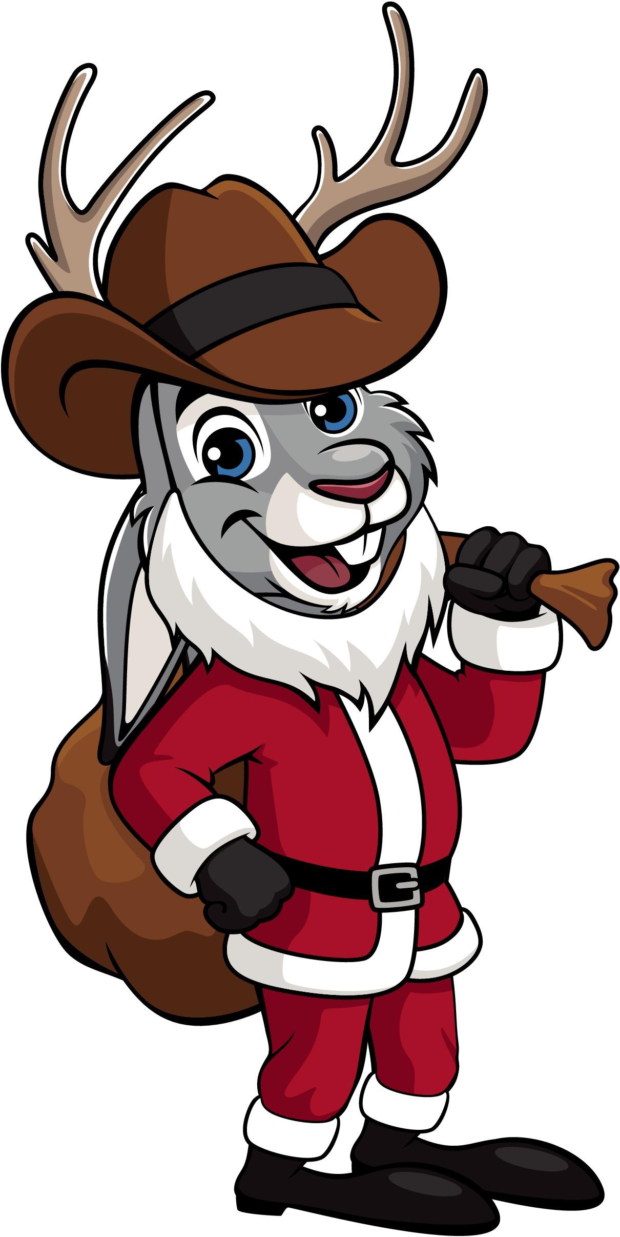 Jackalope artwork - dressed as Santa with cowboy hat