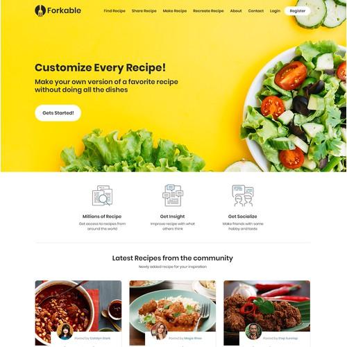 Website Design for Food Recipes Online Sharing.