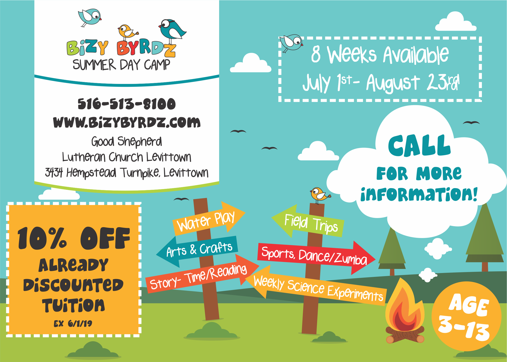 Postcard sized flyer for camp