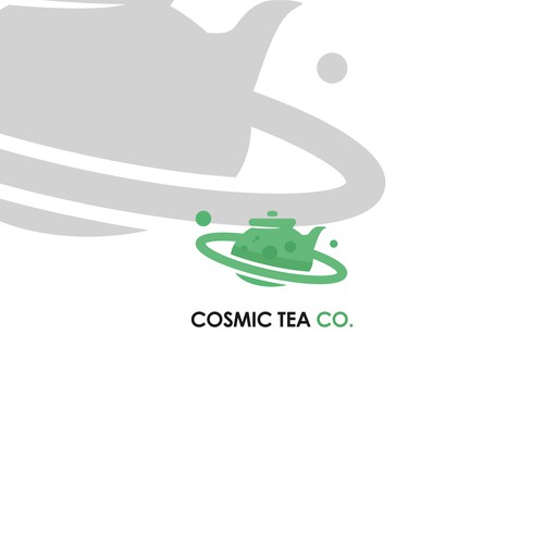 Minimalist logo for tea and space theme