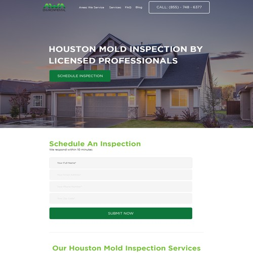 A clean, user-first re-design for our mold inspection website!