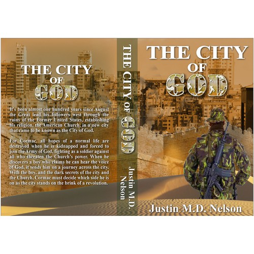 """Create a cover design for a new young adult novel, """"The City of God""""."""