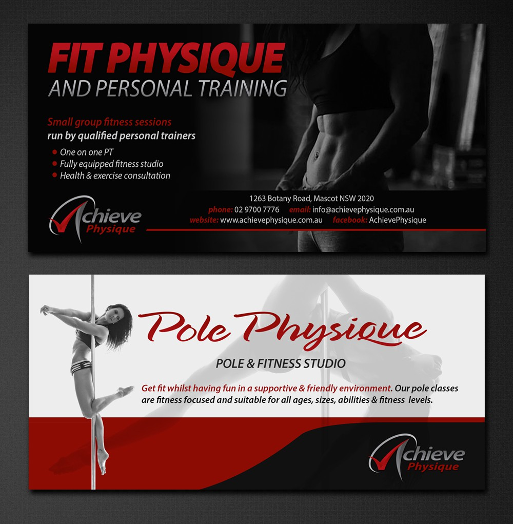 Create an attention grabbing DL flyer for Achieve Physique pole & fitness studio