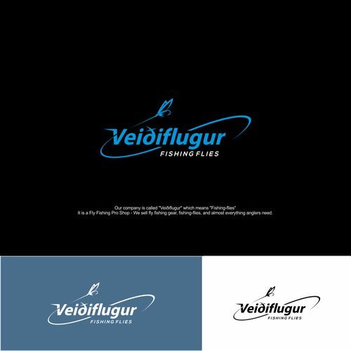 Logo concept for veidflugur fishing flies.