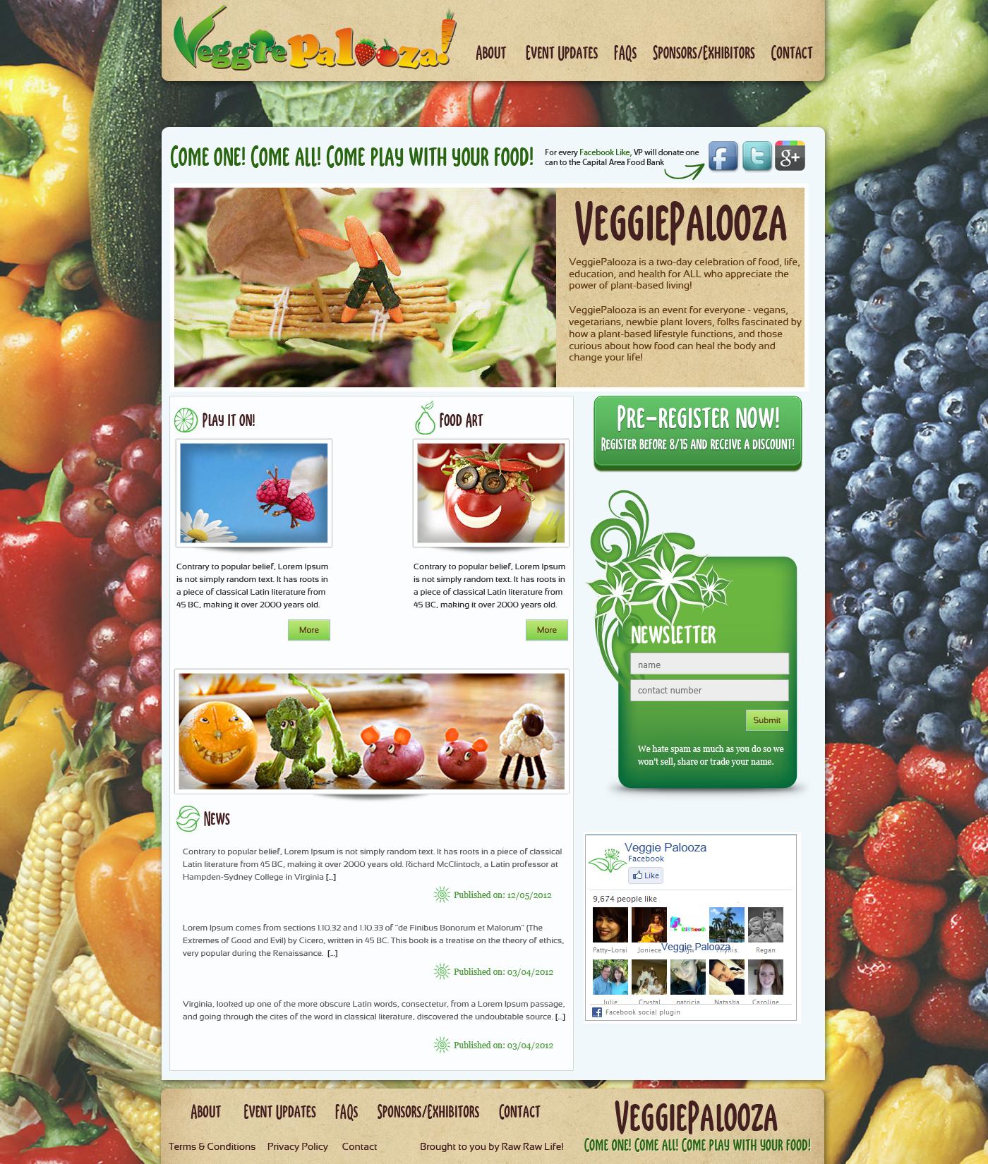 Create the next website design for VeggiePalooza!