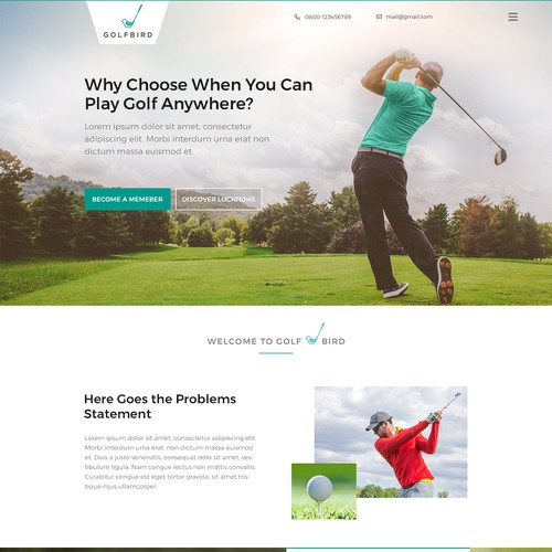 Golf playing subscription business home page