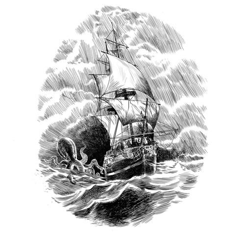 Vintage drawing ship