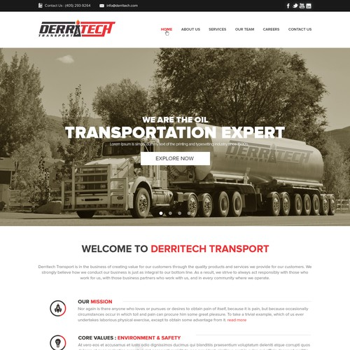 Create a PROGRESSIVE website for Derritech Transport, Inc.