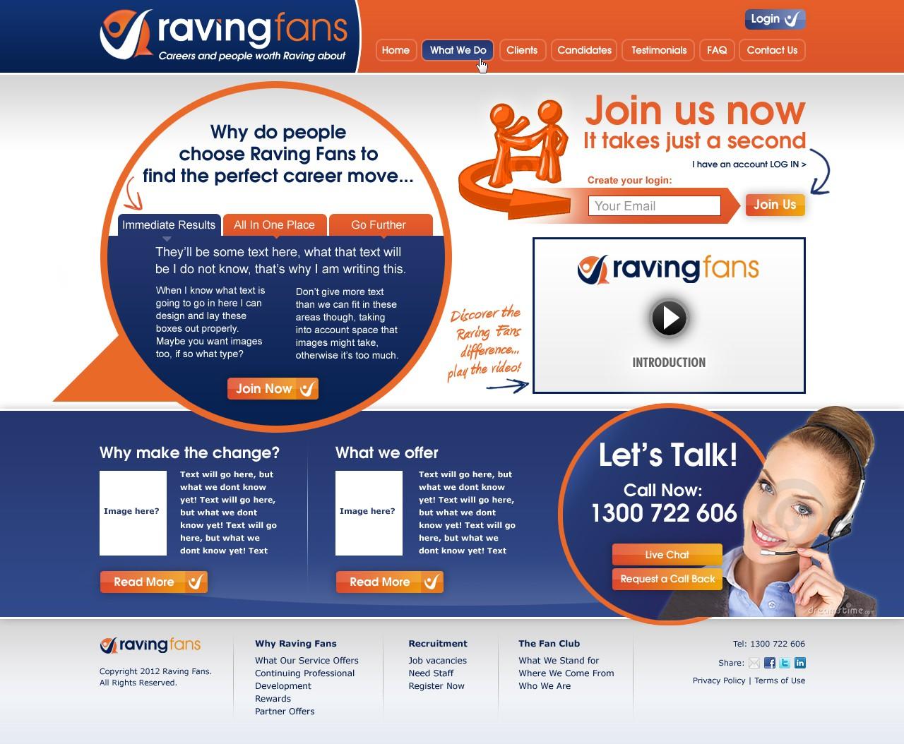 website design for Raving Fans Group