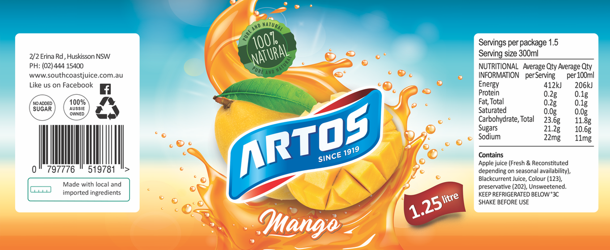 packaging labels for fruit based drinks