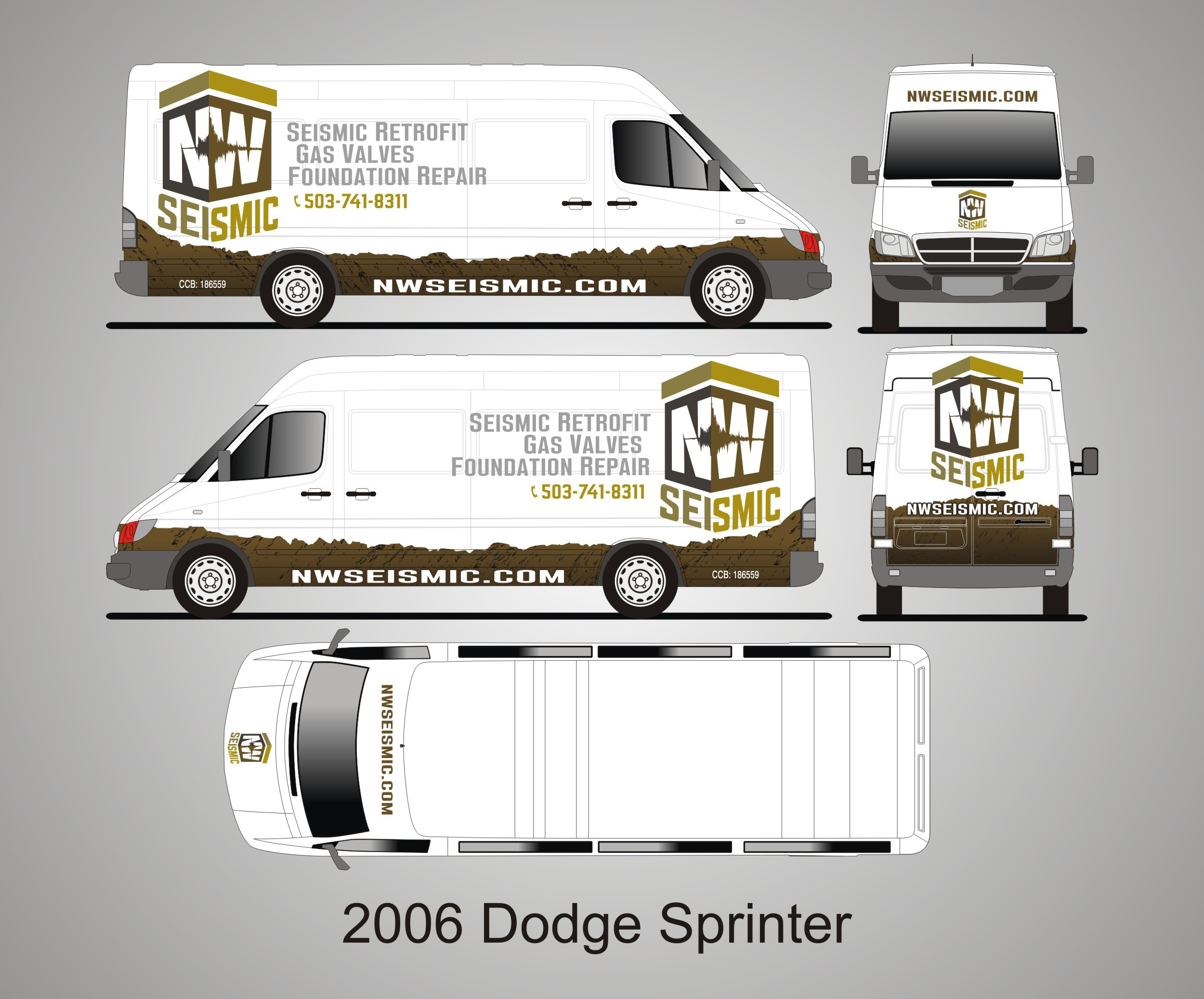 Design a vehicle wrap for NW Seismic, a  company that makes houses safer for earthquakes.