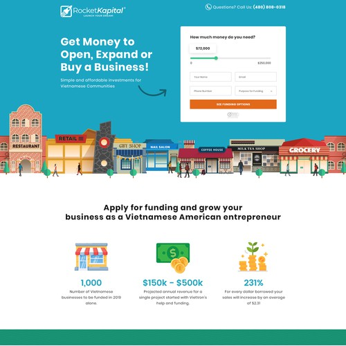 Landing Page for Small Business Funding