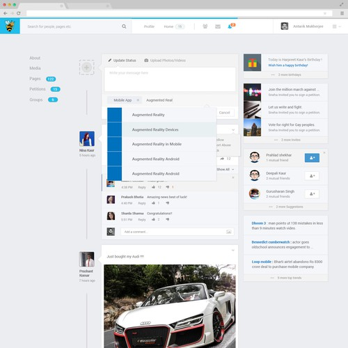 Social Networking User Interface (Main Page Layout)
