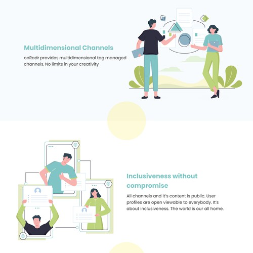 Landing page Illustrations for a social media platform