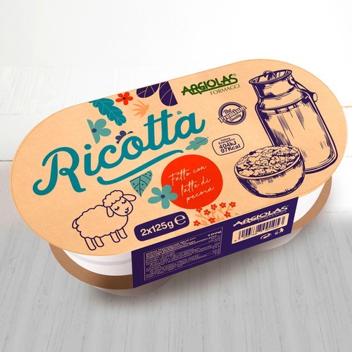 Design for an excellent italian ricotta product.