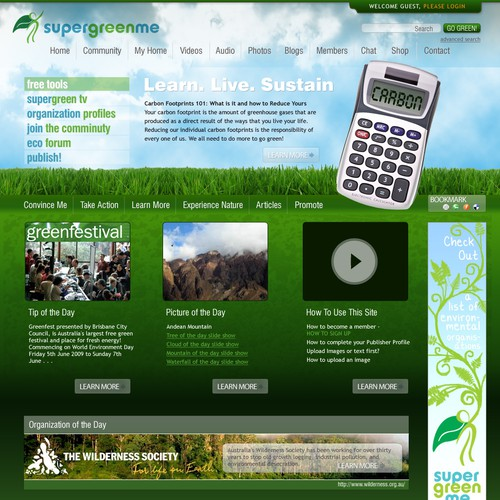 SuperGreenMe.com Eco Social Network Website Design