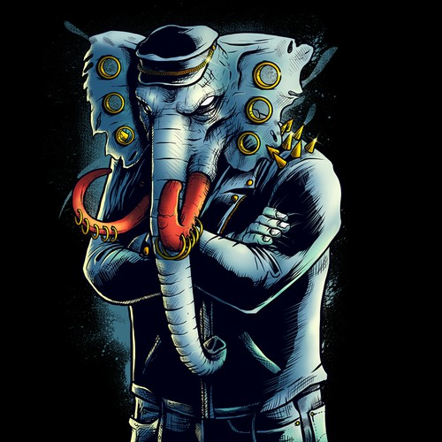An Elephant with 80's rocker style