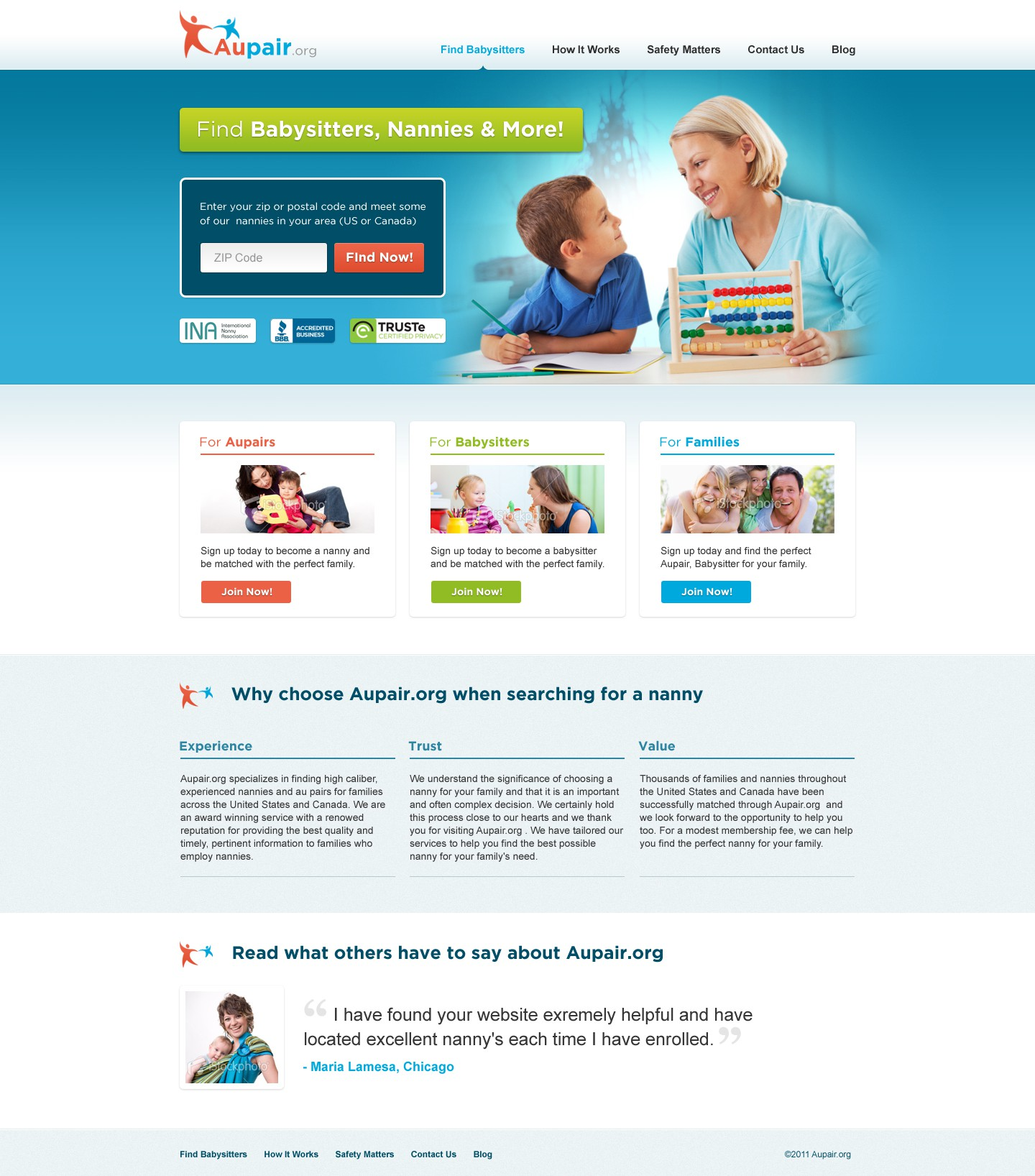 Help Aupair Site with a new website design