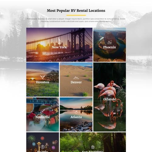 Homepage Design for RV Rentals Website