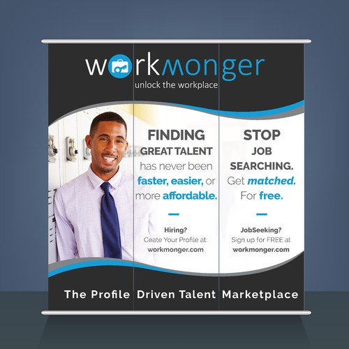 Create an Eye-Catching Trade Show Booth / Banner Background for WorkMonger
