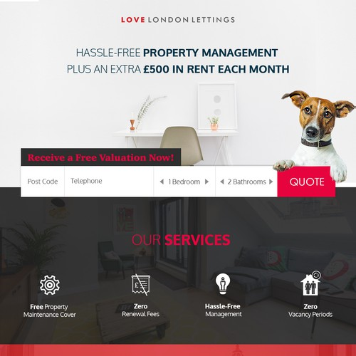 Love London Lettings Landing Page