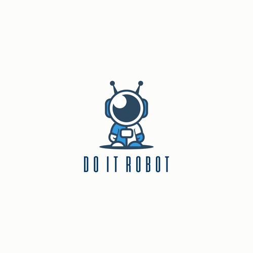 Cute little robot logo