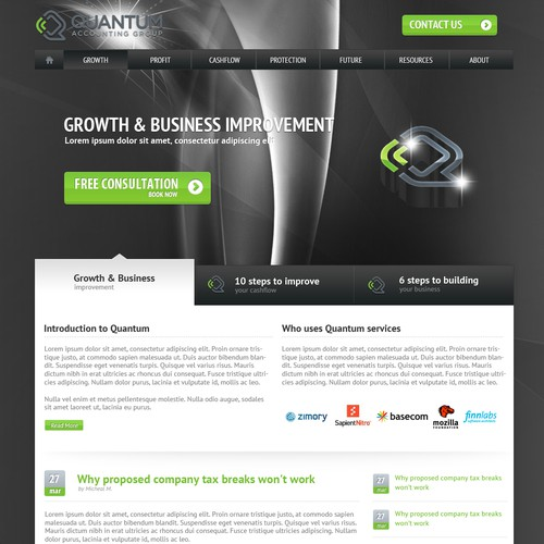 Cool new website design needed for Quantum Accounting Group