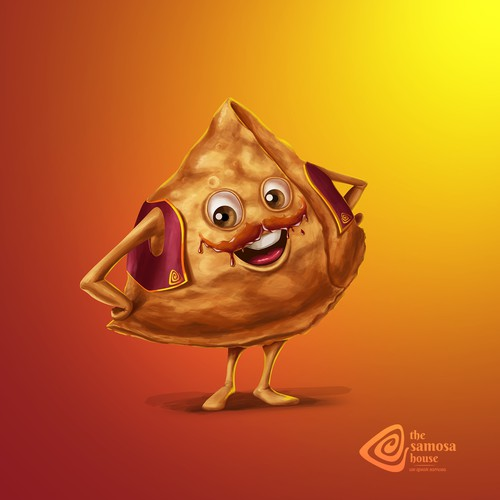 Samosa- India snack Mascot Design